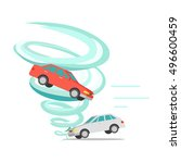 tornado twisted red car icon.... | Shutterstock .eps vector #496600459