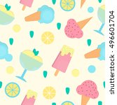ice cream seamless pattern in... | Shutterstock . vector #496601704