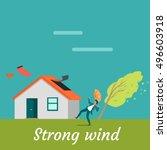 strong wind destroying house... | Shutterstock .eps vector #496603918
