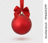 Red Christmas Ball With Ribbon...