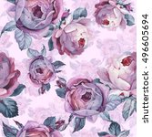 wildflower rose flower pattern... | Shutterstock . vector #496605694