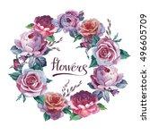 wildflower rose flower wreath... | Shutterstock . vector #496605709