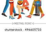 flat design men and women legs... | Shutterstock .eps vector #496605733