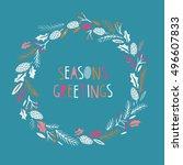 seasons greetings. print design | Shutterstock .eps vector #496607833