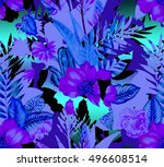 seamless tropical double... | Shutterstock . vector #496608514