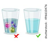 glass with clean and dirty... | Shutterstock .eps vector #496610476
