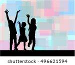 three of waving children.... | Shutterstock .eps vector #496621594