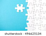 pieces of puzzle connected... | Shutterstock . vector #496625134