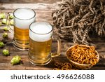 two tankard beer  wheat spikes  ... | Shutterstock . vector #496626088