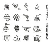bee and honey icon set. thin... | Shutterstock .eps vector #496628296