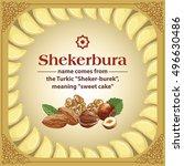 traditional azerbaijan sweet... | Shutterstock .eps vector #496630486