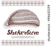 traditional azerbaijan sweet... | Shutterstock .eps vector #496632259