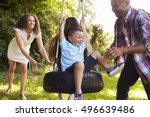 parents pushing children on... | Shutterstock . vector #496639486