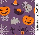 halloween seamless pattern with ... | Shutterstock .eps vector #496640290