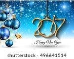 2017 happy new year background... | Shutterstock . vector #496641514