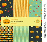set vector patterns with bright ... | Shutterstock .eps vector #496644574