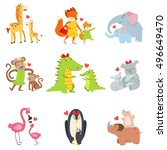 Stock vector small animals and their moms illustration set 496649470