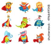 animals superheroes with capes... | Shutterstock .eps vector #496649548