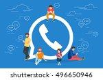 symbol of mobile messenger...   Shutterstock .eps vector #496650946