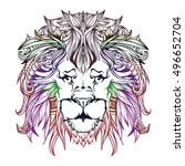 vector cartoon lion in colored... | Shutterstock .eps vector #496652704