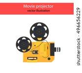 film projector. vector movie... | Shutterstock .eps vector #496656229