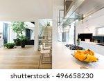 spacious new villa interior... | Shutterstock . vector #496658230