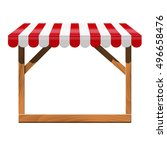 store front with red awning and ...   Shutterstock .eps vector #496658476