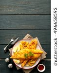 fish and chips | Shutterstock . vector #496658593