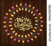 merry christmas greeting card... | Shutterstock .eps vector #496658980