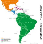 latin america regions. map of... | Shutterstock .eps vector #496665004