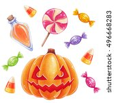 halloween hand drawn... | Shutterstock . vector #496668283
