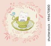 cat illustration cute cat... | Shutterstock .eps vector #496670800