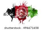 watercolor flag of afghanistan    Shutterstock . vector #496671658