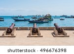 embankment with guns in... | Shutterstock . vector #496676398
