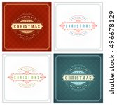 christmas typography greeting... | Shutterstock .eps vector #496678129