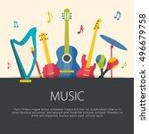 flat design musical instruments.... | Shutterstock .eps vector #496679758