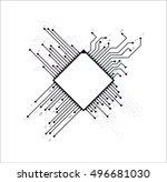 microchip. microprocessor icon. ... | Shutterstock .eps vector #496681030