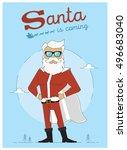 super santa is coming character ... | Shutterstock .eps vector #496683040