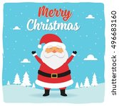 happy santa greeting card... | Shutterstock .eps vector #496683160
