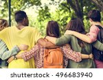 diverse group young people... | Shutterstock . vector #496683940