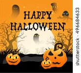 halloween background with... | Shutterstock .eps vector #496684633