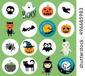 halloween icons. | Shutterstock .eps vector #496685983