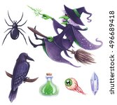 halloween hand drawn... | Shutterstock . vector #496689418