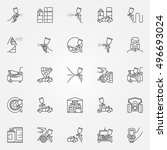 car painting icons set. vector... | Shutterstock .eps vector #496693024