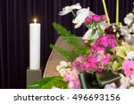 a coffin with flower...   Shutterstock . vector #496693156