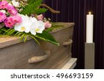 a coffin with flower... | Shutterstock . vector #496693159