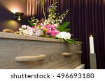 a coffin with flower... | Shutterstock . vector #496693180