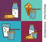 assortment of different dairy... | Shutterstock .eps vector #496701568