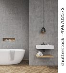 bathroom interior with bathtub  ... | Shutterstock . vector #496702573