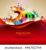 happy new year 2017. colorful... | Shutterstock .eps vector #496702744